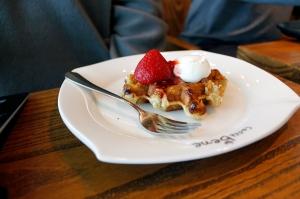 B's strawberry cream cheese waffle